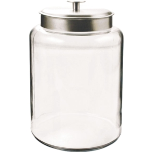 Image of 2.5 Gallon Montana Jar with Brushed Aluminum Metal Cover. Clear 95507