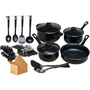 Click here for Kitchen 32 Piece Chef Du Jour Cookware Set, Black prices