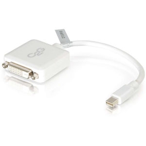 C2G 8in Mini DisplayPort to Single Link DVI-D Adapter Converter Laptops and Tablets - M\/F White - DVI\/Mini DisplayPort for Notebook, Tablet, Monitor, Video Device - 8 - 1 x Mini DisplayPort Male Thunderbolt - 1 x DVI-D (Single-Link) Female Digital Video