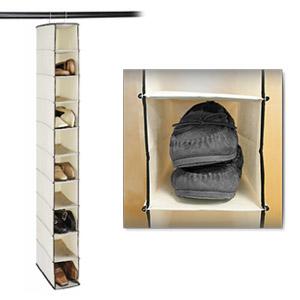 Stylishly Stored Ten-Shelf Canvas Hanging Shoe Organizer