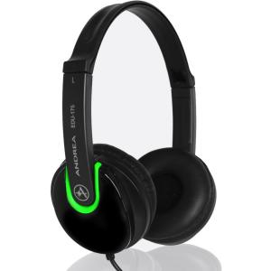 Image of Andrea EDU-175 Stereo Headphone, Black, Green