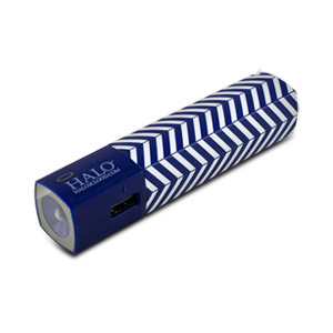 Halo Pocket Power Starlight 3000mAh Power Bank with Flash Light, Blue Chevron