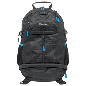 Manhattan Trekpack Heavy-Duty Top-Loading Backpack for 17 Laptops, Black/Blue