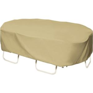 Two Dogs Designs 110 in. Khaki Oval\/Rectangular Patio Table Set Cover