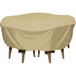 Two Dogs Designs 84 in. Khaki Round Patio Table Set Cover