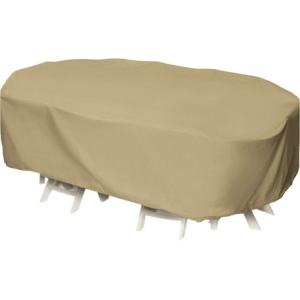 Two Dogs Designs 92 in. Khaki Oval\/Rectangular Patio Table Set Cover