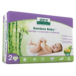 Image of Aleva Naturals Bamboo Baby Diapers, Size 2 (6-17lbs) - 30ct