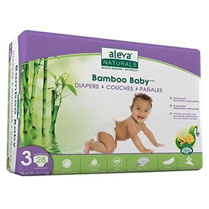 Image of Aleva Naturals Bamboo Baby Diapers, Size 3 (13-24lbs) - 28ct