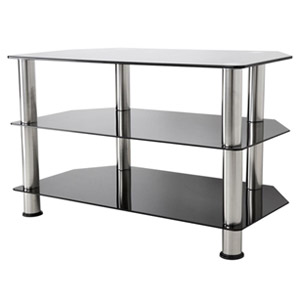 "Image of AVF Glass Floor Stand with Chrome Legs for TVs up to 40"", Black (SDC800-A)"
