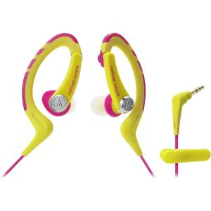 Image of Audio-Technica ATH-SPORT1 SonicSport In-ear Headphones - Yellow/Pink