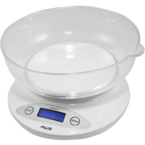 Image of American Weigh Scales 2KBOWL-WT Digital Kitchen Bowl Scale - White