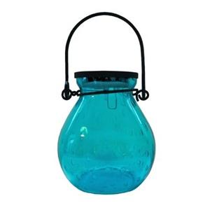Image of Allsop Home & Garden 30676 Bubble Glass Solar Lantern - Turquoise