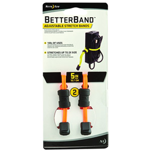 "Nite Ize Better Band 5"" Adjustable Stretch Bands, 2 Pack (Bright Orange)"