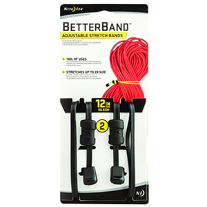 "Nite Ize Better Band 12"" Adjustable Stretch Bands, 2 Pack (Black)"