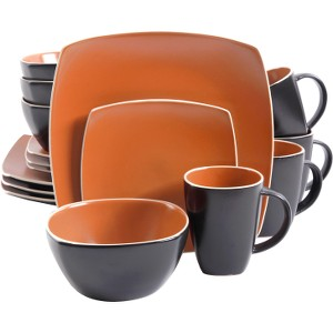 Gibson Home Soho Lounge Matte 16 Piece Dinnerware Set, Brick