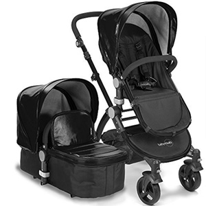 Image of Babyroues LeTour II Stroller - Black Leatherette w/ Black Frame