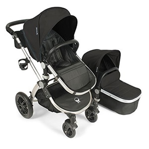 Image of Babyroues Letour Avant Canvas Stroller - Black on Silver Frame