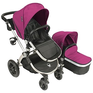 Image of Babyroues Letour Avant Canvas Stroller - Pink on Silver Frame