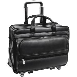"McKleinUSA Franklin 15.6"" Leather Detachable Wheeled Laptop Briefcase - Black"