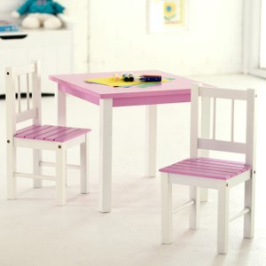 Lipper Child's Table Chair Set - Pink/White