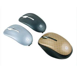 HP 2.4GHz Wireless Optical Mobile Mouse w/ Top Covers, Gold/Black/Silver, Refurb