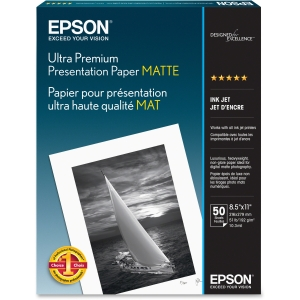 "Epson Photo Paper - Letter - 8.50"" x 11"" - 192 g/m² - Matte - 104% Brightness - 50 / Pack - White"