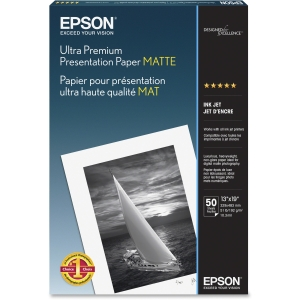 "Epson Photo Paper - Super B - 13"" x 19"" - 192 g/m² - Matte - 104% Brightness - 50 Sheet - White"