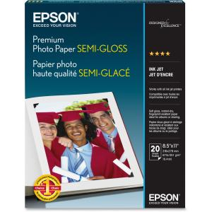 "Epson Photo Paper - Letter - 8.50"" x 11"" - 251 g/m² - Semi-gloss - 93% Brightness - 20 / Pack - White"