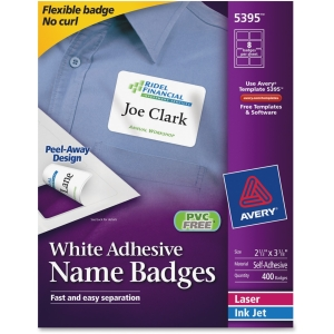 "Avery Name Badge Label - 2.33"" Width x 3.37"" Length - 400 / Box - Rectangle - 8/Sheet - Paper - Laser, Inkjet - White"
