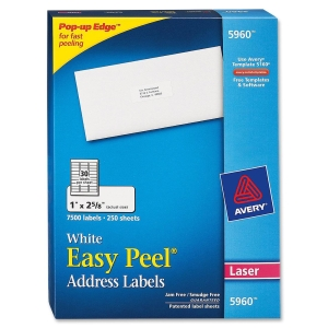 "Avery Easy Peel Address Label - 1"" Width x 2.62"" Length - 7500 / Box - Rectangle - 30/Sheet - Laser - Bright White"