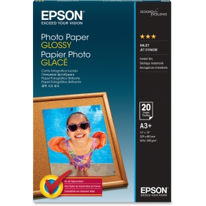 "Epson Photo Paper - Super B - 13"" x 19"" - 196 g/m² - Soft Gloss - 89% Brightness - 20 Sheet - White"
