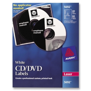 Avery CD/DVD Label - 40 / Pack - Circle - 4/Sheet - Laser - White