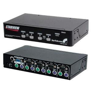 StarTech.com 4 Port Black PS/2 KVM Switch - 4 x 1 - 4 x mini-DIN (PS/2) Keyboard