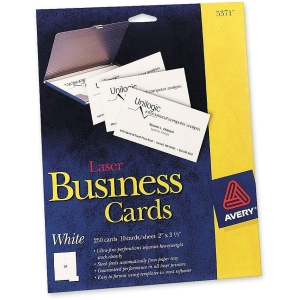 "Avery Business Card - For Laser Print - A8 - 2"" x 3.50"" - 250 / Pack - White"