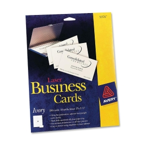Avery Business Card - For Laser Print - A8 - 2&quot; x 3.50&quot; - 250 / Pack - Ivory