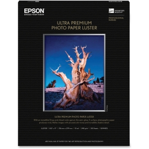 "Epson Photo Paper - Letter - 8.50"" x 11"" - 240 g/m² - Luster - 97% Brightness - 50 / Pack - White"