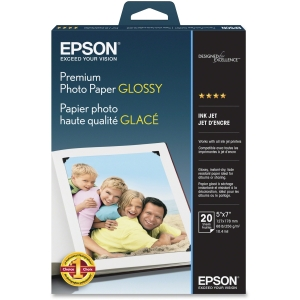 "Epson Photo Paper - 5"" x 7"" - 252 g/m² - High Gloss - 92% Brightness - 20 Sheet - White"