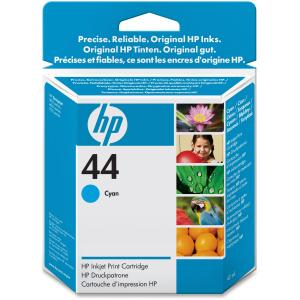 HP 44 Cyan Ink Cartridge - Cyan - Inkjet - 1100 Page - 1 Each - Retail