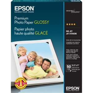 "Epson Premium Photo Paper - Letter - 8.50"" x 11"" - 252 g/m² - High Gloss - 92% Brightness - 50 / Pack - Bright White"