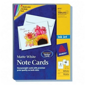 "Avery Note Card - 5.50"" x 4.25"" - Matte - 60 / Box - White"
