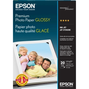 "Epson Premium Photo Paper - Ledger - 11"" x 17"" - 252 g/m² - High Gloss - 92% Brightness - 1 Each - Bright White"