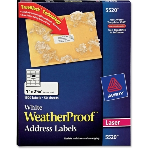 "Avery Weather Proof Mailing Label - 1"" Width x 2.62"" Length - 1500 / Pack - Rectangle - 30/Sheet - Polyester - Laser - White"