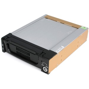 StarTech.com Black Aluminum 5.25in Rugged SATA Hard Drive Mobile Rack Drawer - 3.5 - Internal - Serial ATA - Black