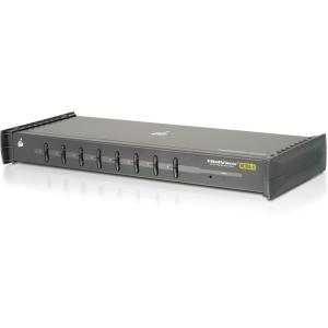IOGEAR Miniview Ultra+ 8-Port KVM Switch - 8 x 1 - 8 x Line Out, 8 x Audio In, 8 x HD-15 - 1U - Rack-mountable