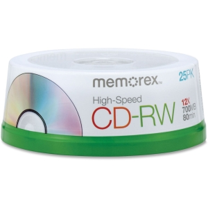 Memorex CD Rewritable Media - CD-RW - 12x - 700 MB - 25 Pack Spindle - 120mm1.33 Hour Maximum Recording Time