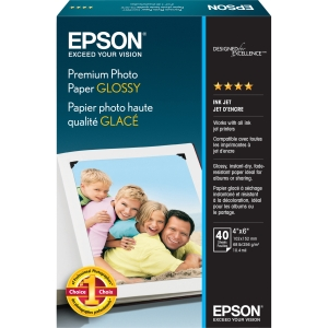 "Epson Premium Photo Paper - 4"" x 6"" - 252 g/m² - High Gloss - 92% Brightness - 40 Sheet - White"