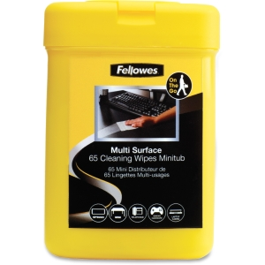 Fellowes Multipurpose Surface Cleaning Wipes - 65 - Optical Media, Notebook, Desktop Computer, PDA, Home/Office Equipment, Display Screen - Alcohol-free, Non-toxic, Anti-static - White