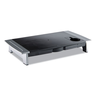 "Fellowes Office Suites Premium Monitor Riser - Up to 80.00 lb - Up to 21"" CRT - Black, Silver - Desk Mountable"