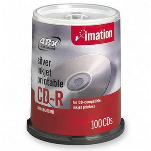 Imation 17335 CD Recordable Media - CD-R - 52x - 700 MB - 100 Pack Spindle - 120mm - Inkjet Printable - 1.33 Hour Maximum Recording Time
