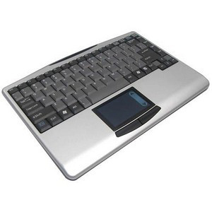 Adesso WKB-4000US Wireless Mini Touchpad Keyboard - USB - QWERTY - 88 Keys - Black, Silver